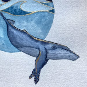 Der Wal mit Linien aus Blattgold im Detail