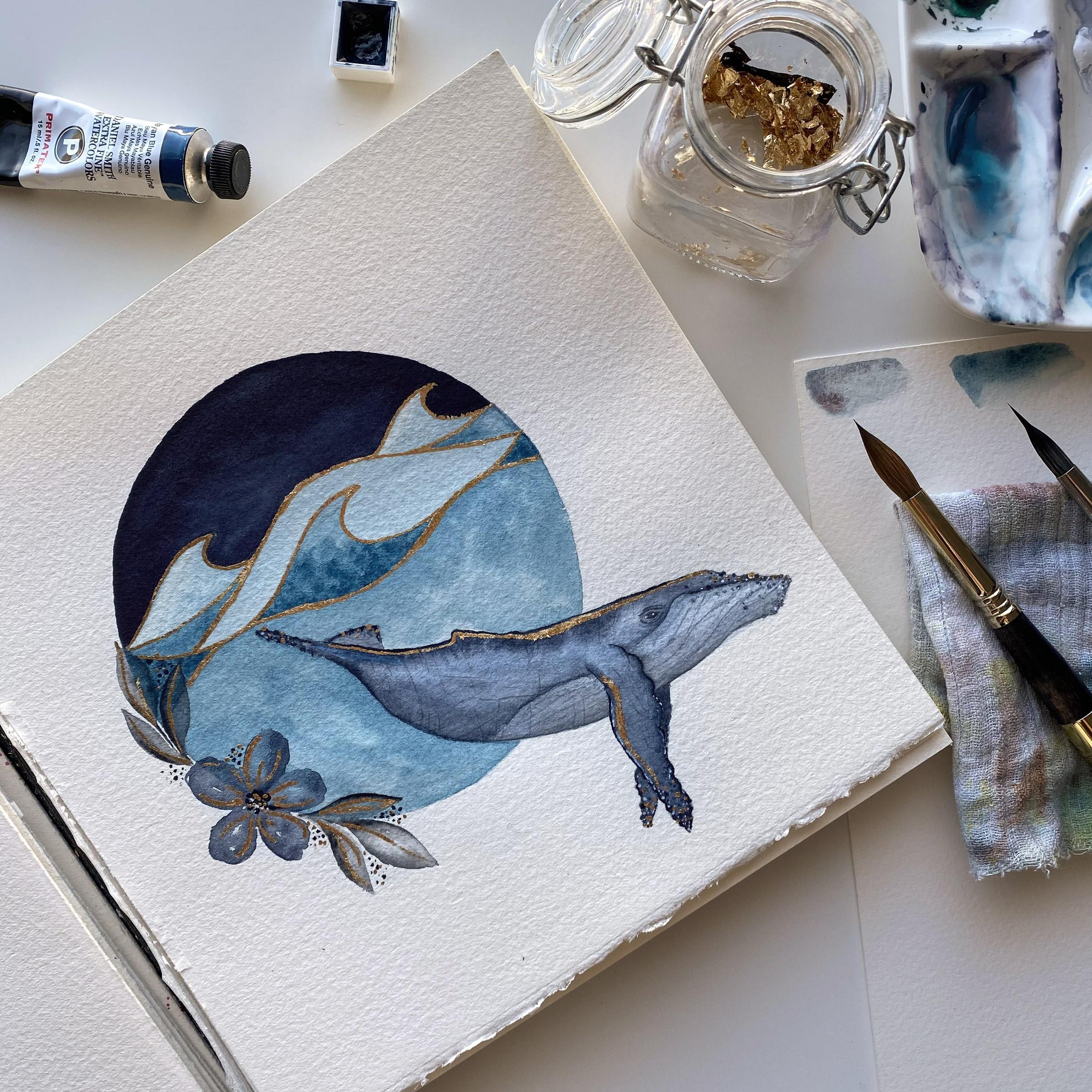 Das fertige Redraw: Ein Buckelwal mit Blattgold