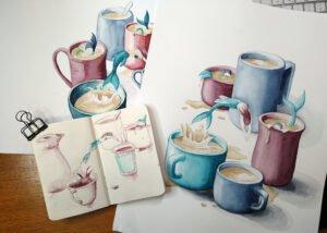 Füllerskizze im kleinen Buch und zwei Versionen mit Aquarellfarben auf hochwertiges Papier.