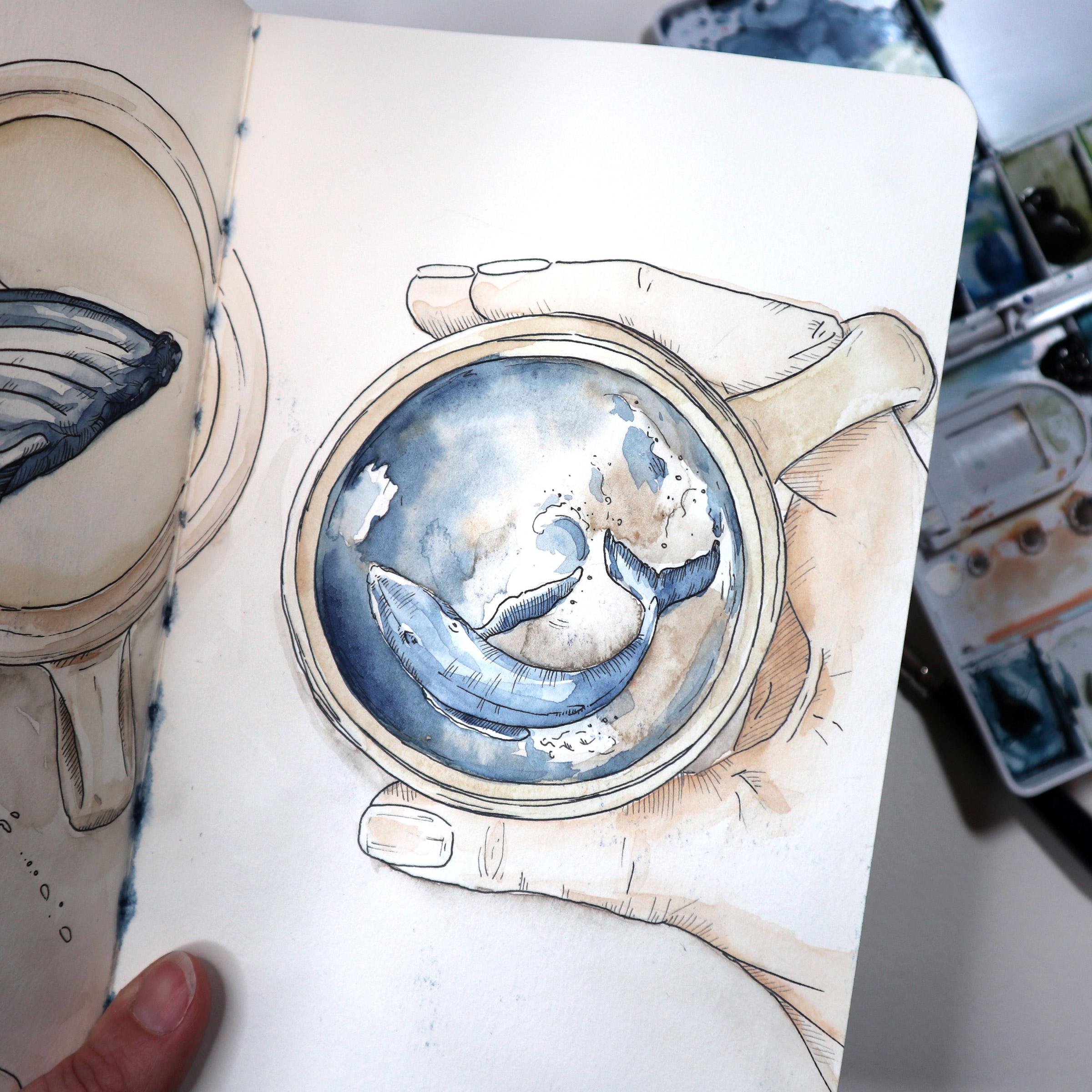 Die Vorlage aus dem Sketchbook: Finelinerzeichnung mit etwas Farbe