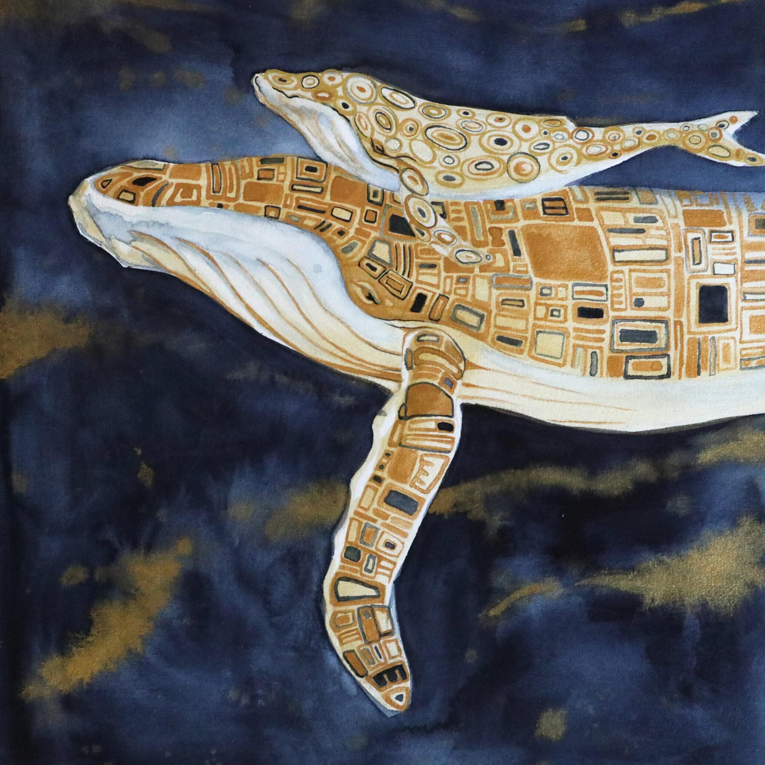 """Angelehnt an """"Der Kuss"""" von Gustav Klimt: Mutterwal mit Rechteckigen Formen und das Kalb mit Kreisen und Ovalen."""