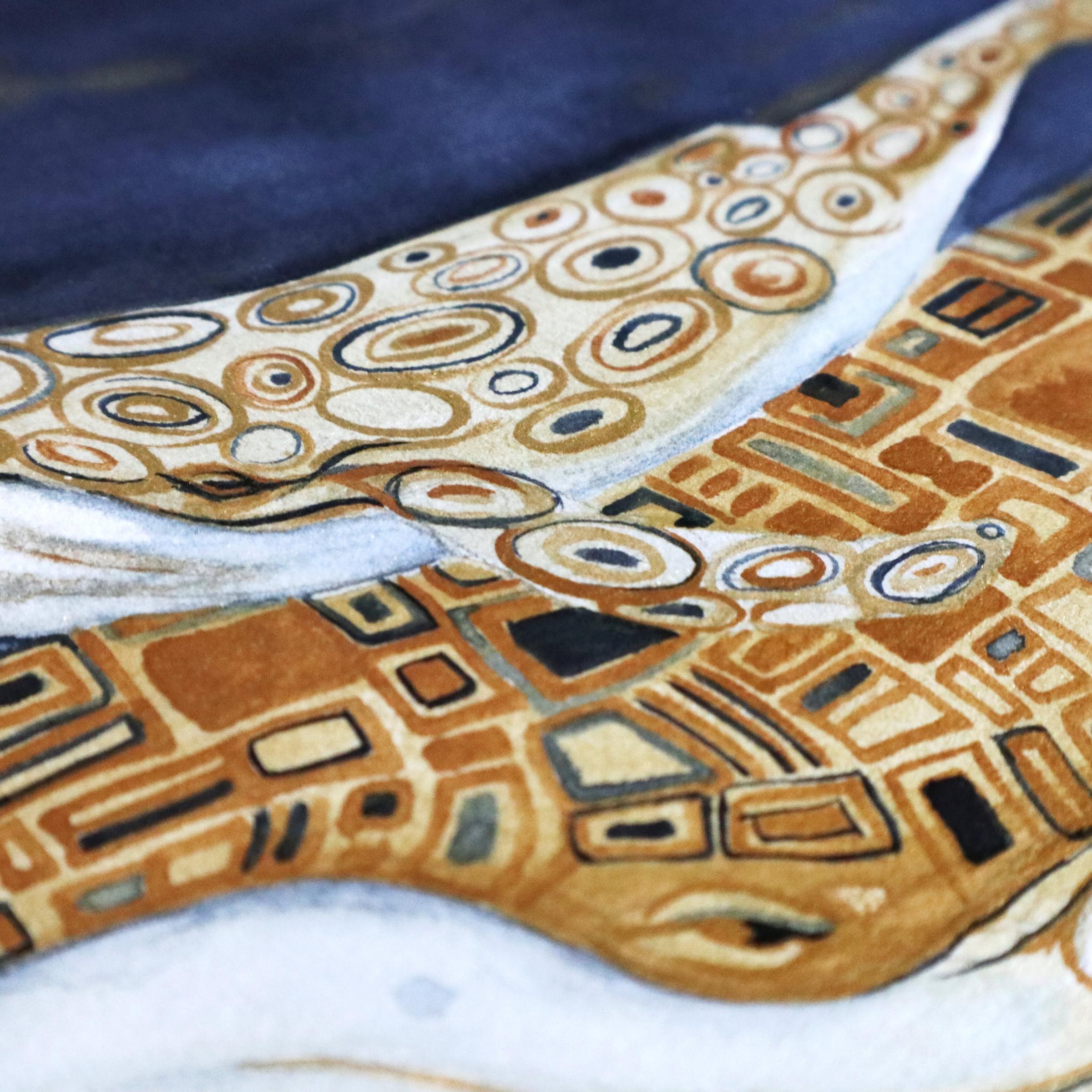 Detailaufnahme der Goldenen Flächen mit etwas dunkelblauer Farbe auf den beiden Walen.