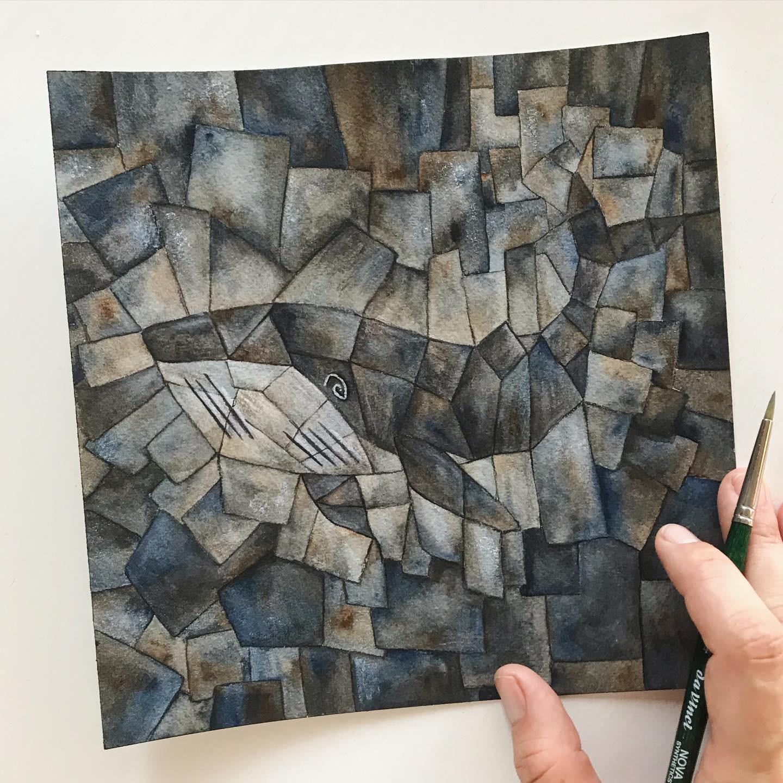 Petras Interpretaion von Georges Braque: Der kubistische Wal.