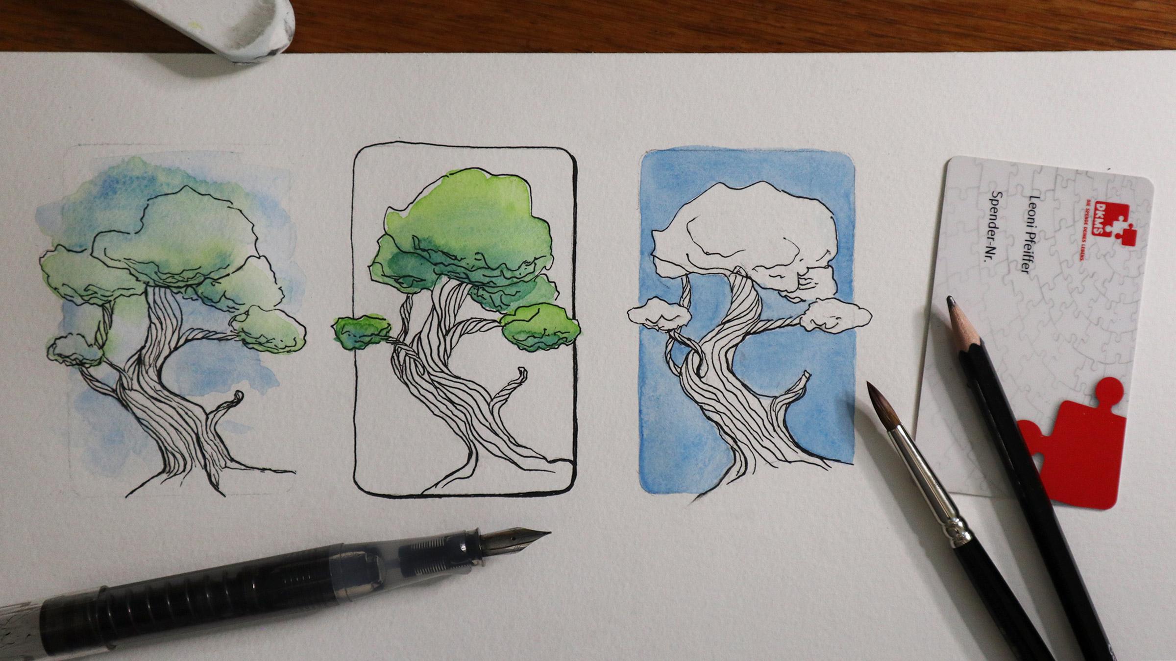 Beispiele für kleine Zeichnungen im Kreditkartenformat.