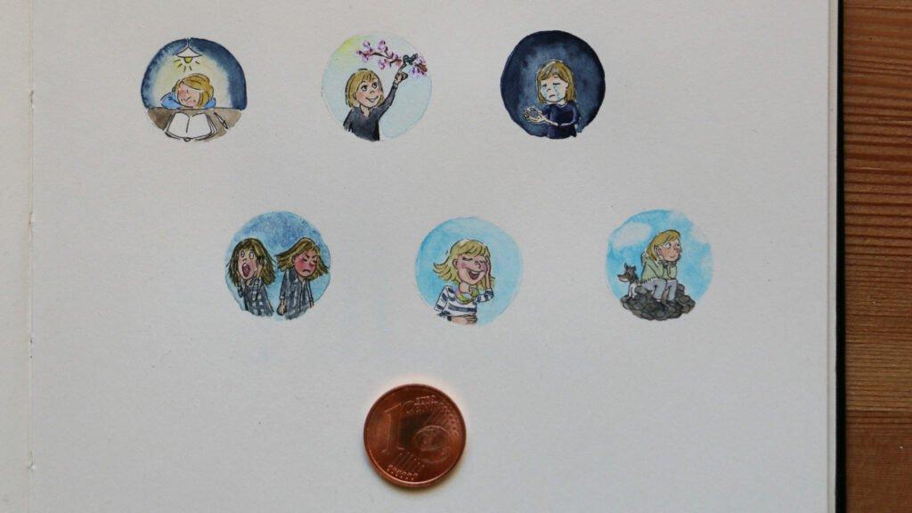 Centpaintings von Anna Moser für die Mini Me-Challenge #minimeweekofemotions von Frau Annika mit verschiedenen Emotionen
