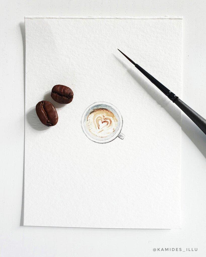 Eine Tasse Cappucino so klein wie eine Kaffeebohne.