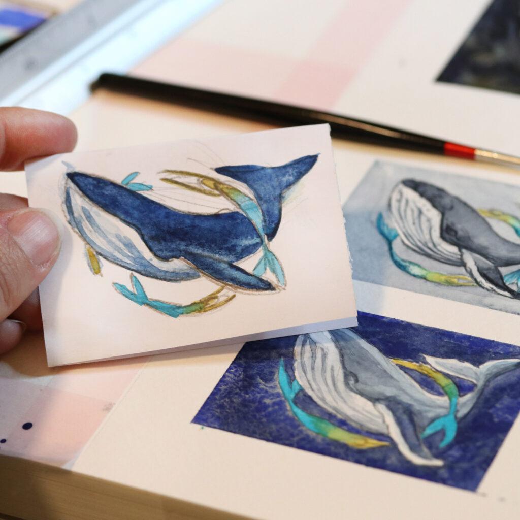 Von der ersten Skizze, dem Versuch mit supergranulierenden Farben bis zum fertigen Bild.