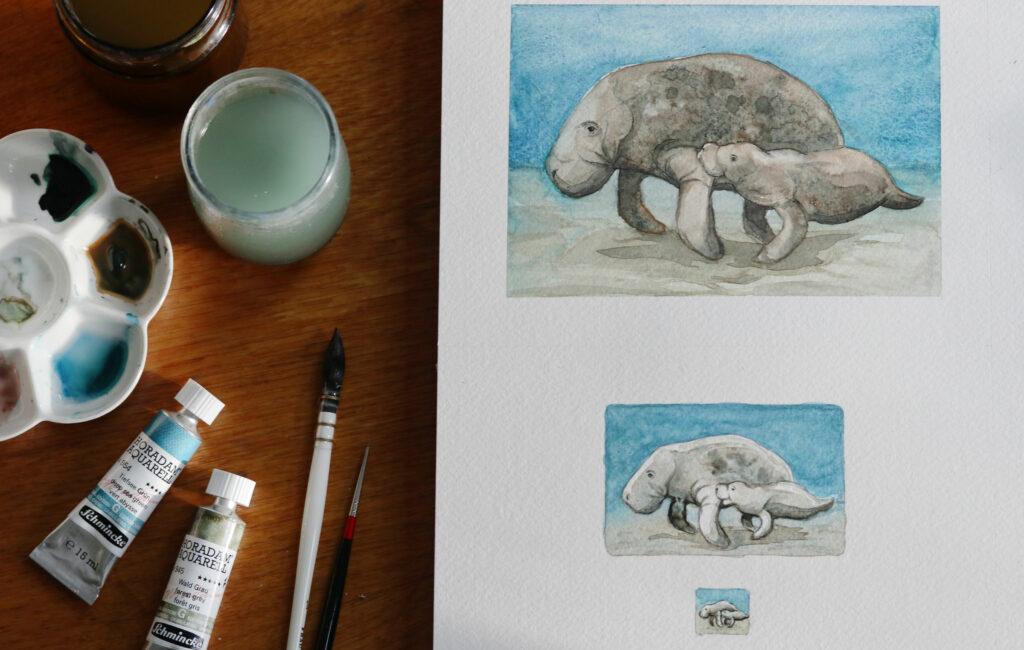 Verkleinerung des gleichen Motivs: Von Postkarte zu einem halben Aquarellnapf.