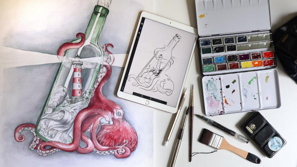 Zum Vergleich: Fertige Illustration neben der digitalen Skizze auf dem iPad.