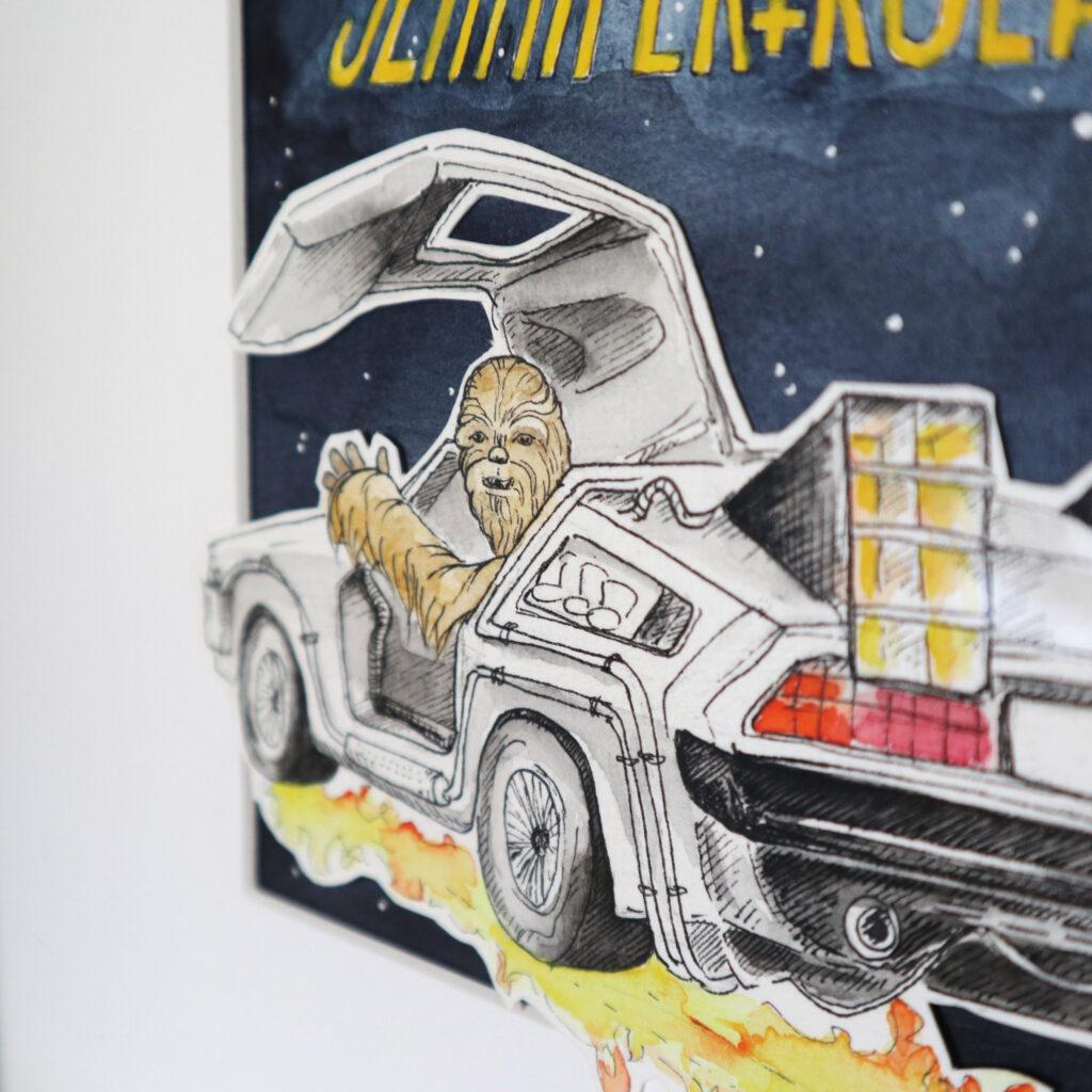 Star Wars meets Back to the Future: Chewbacca im DeLorean auf dem Weg zu den Sternen.