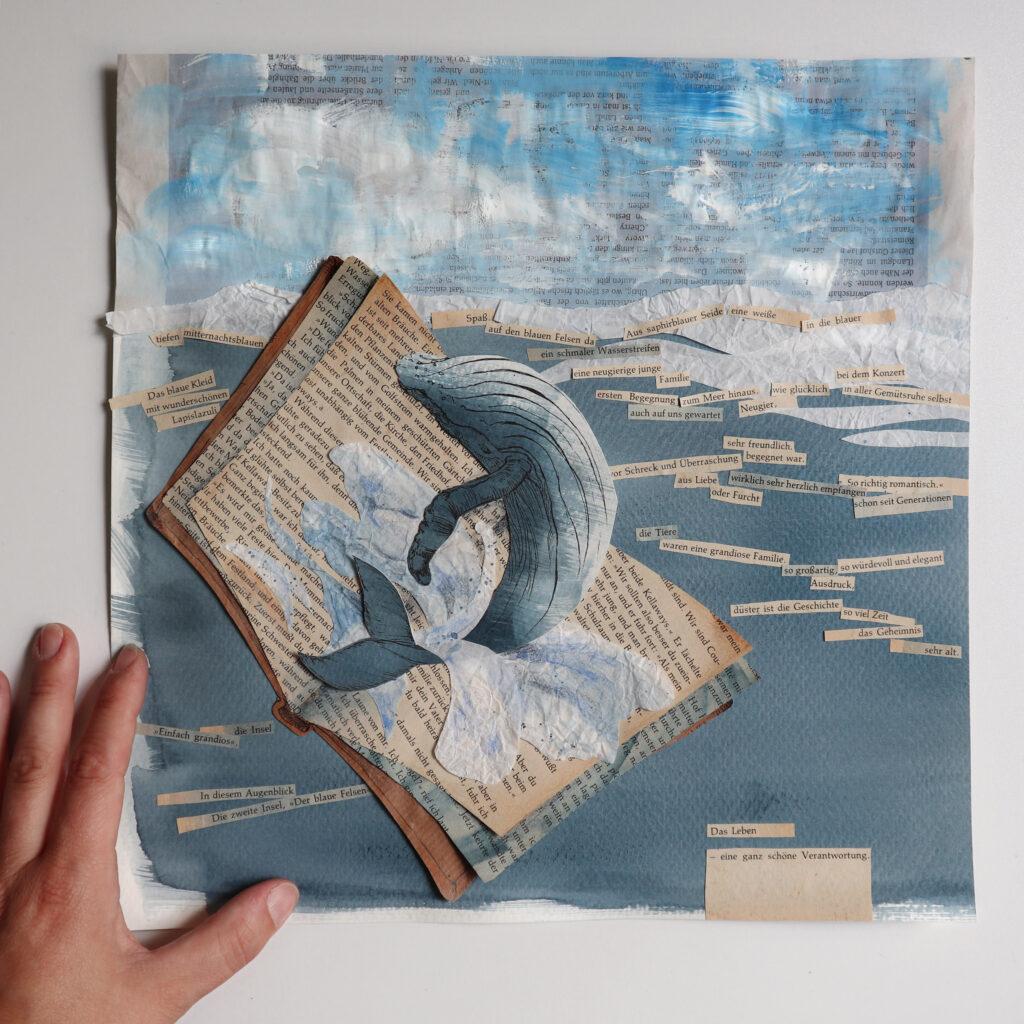 Die Literatur und der Wal. Passende Worte von nur zwei Seiten aus einem alten Taschenbuch arragngiert auf der Collage mit einem Buckelwal.