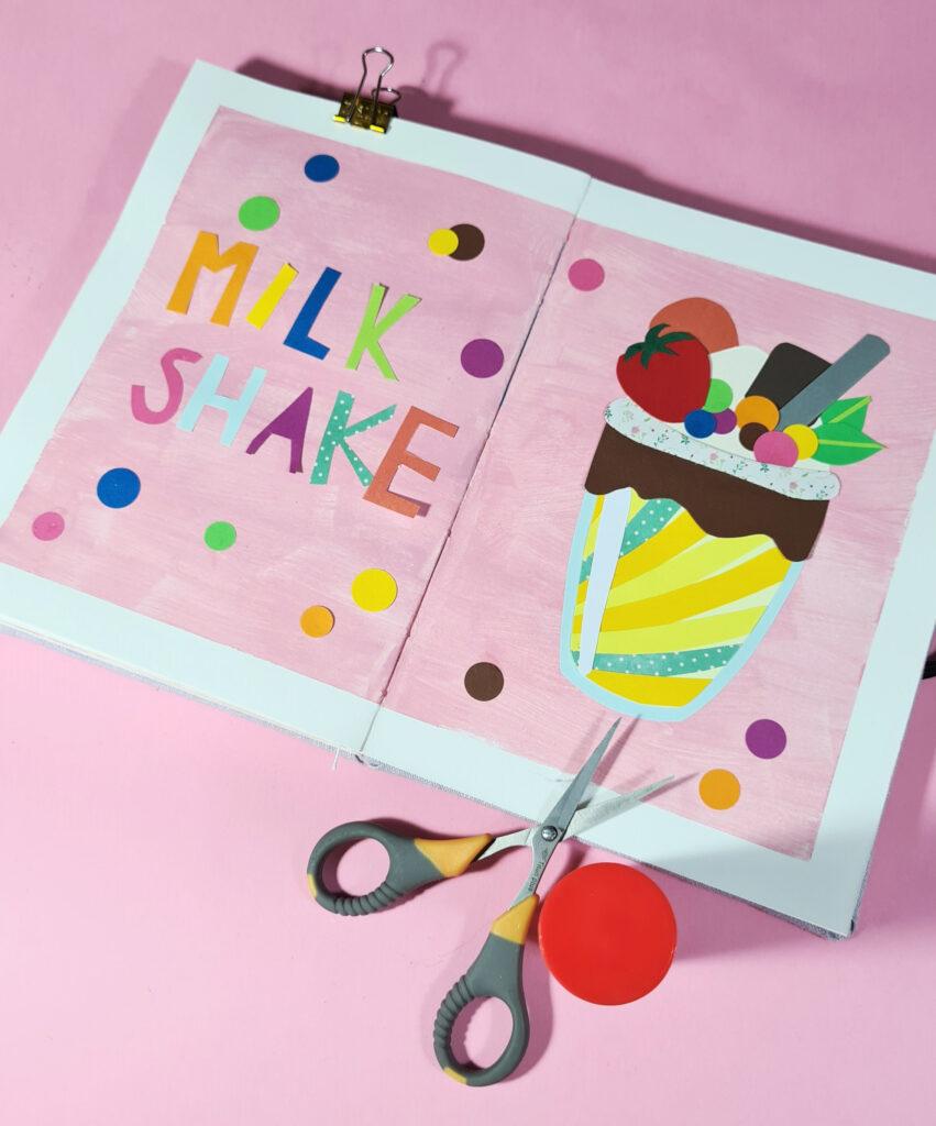 """""""Milkshake"""" von Kelis als Collage aus verschiedenen farbigen Papieren."""