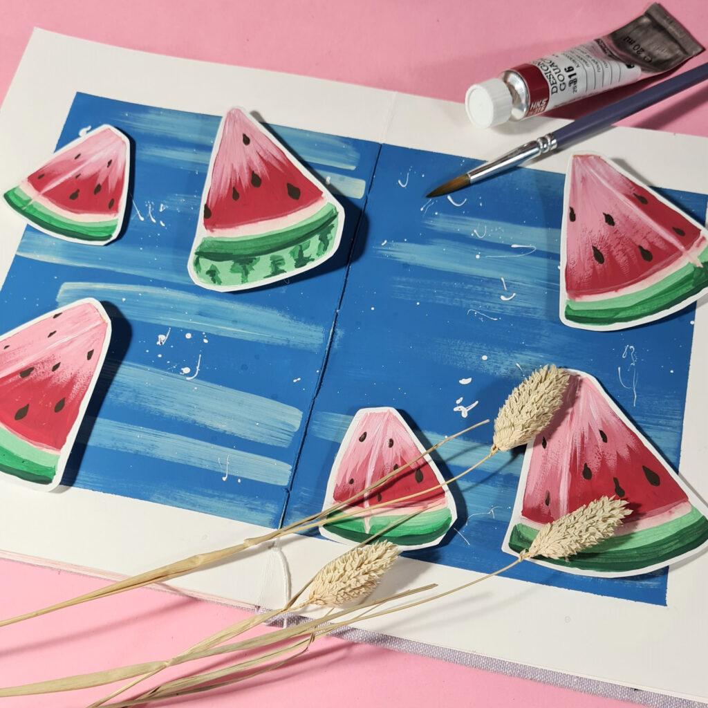 """Harry Styles garantiert einen Ohrwurm: """"Watermelon Sugar"""" aus der #konfettiinderbirne Challenge mit Gouache gemalt"""