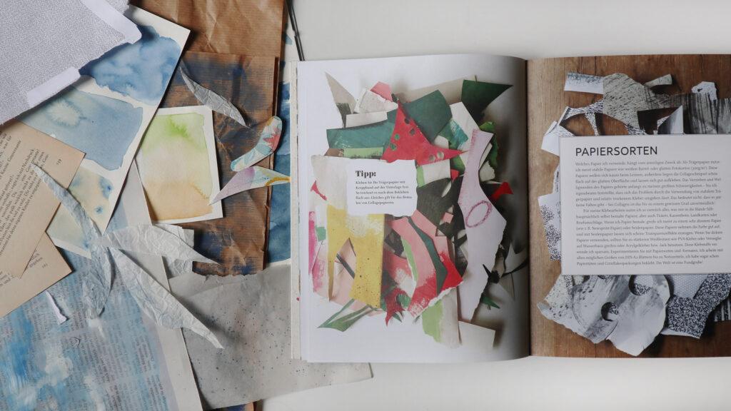 Meine erste Sammlung Papiere: Buchseiten, Zeitung, Packpapier und Aquarellpapiere auf denen ich Farben ausprobiert hatte.