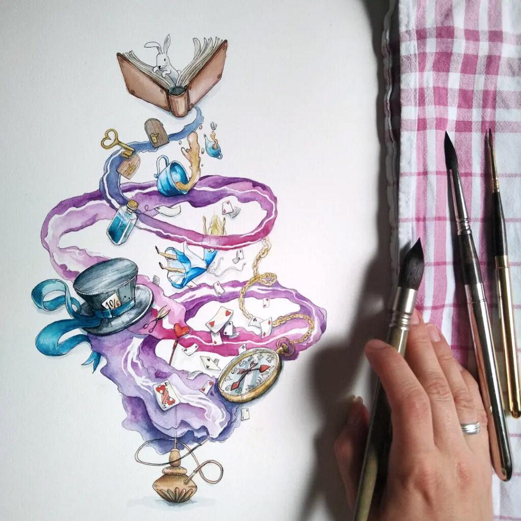 """Die fertige Illustration von """"Alice"""" mit den weißen Linien im violett-pinken Qualm und Rauch."""