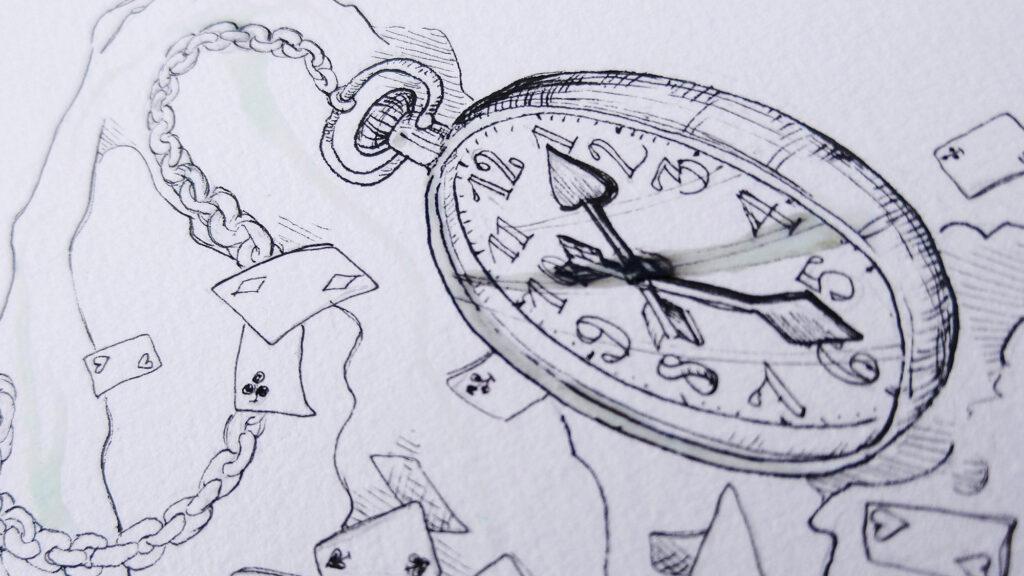 Die Maskierflüssigkeit löst die wasserfeste Tinte auf dem Zifferblatt der Taschenuhr an und verfärbt sich grau.