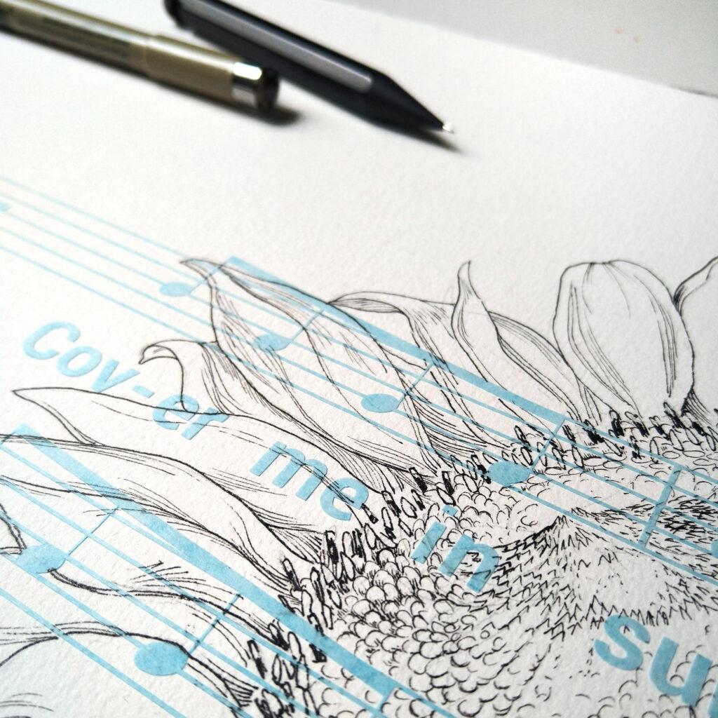 Auf dem Schablonenpapier regu sign malt auch der Füller und der Fineliner, so dass es kaum stört.