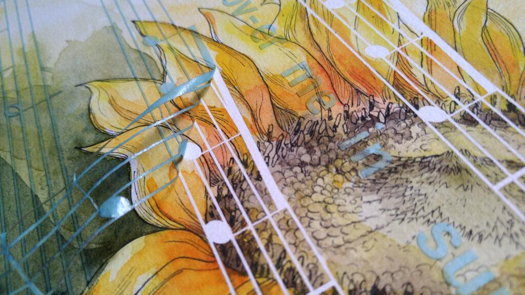 Vorsichtiges Abziehen des Schablonenpapiers nachdem das Bild vollständig getrocknet ist.