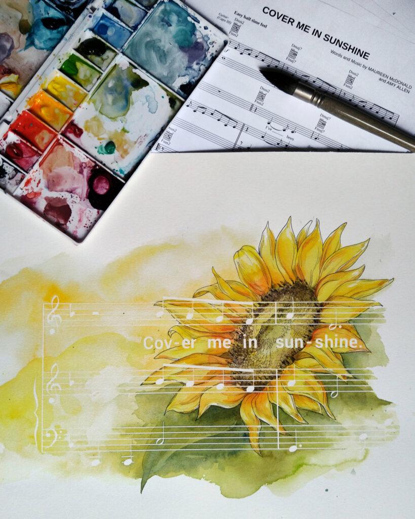 """Das fertige Werk mit den Noten für """"Cover me in Sunshine"""" von Pink."""