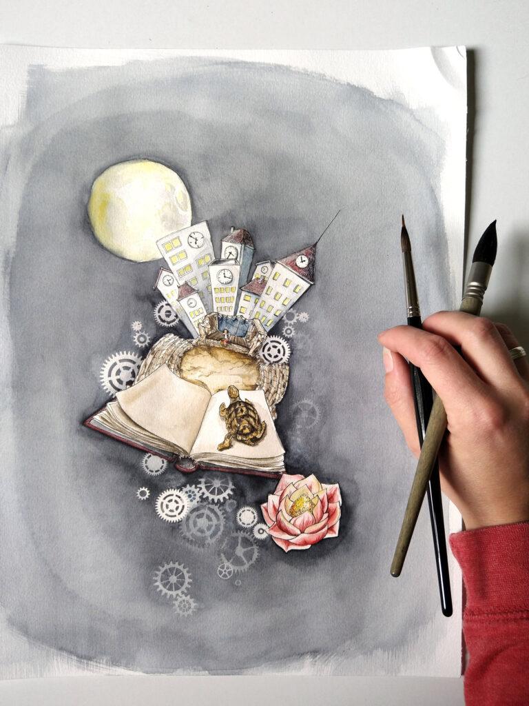 """""""Momo"""" - die Illustration natürlich mit Neutralgrau als großflächigem Hintergrund und einer leuchtenden Stundenblume."""