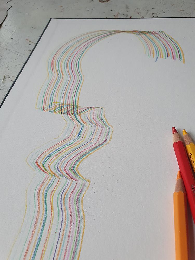 Die Schablone als Silhouette für Buntstifte.