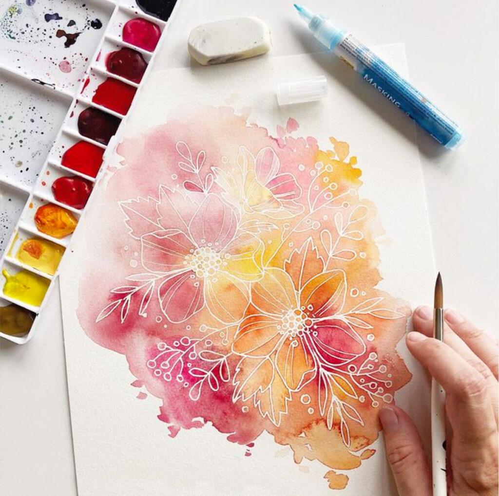 Florales Lineart mit Maskierstift und leuchtenden Aquarellfarben von Petra Heider / una.kritzolina.