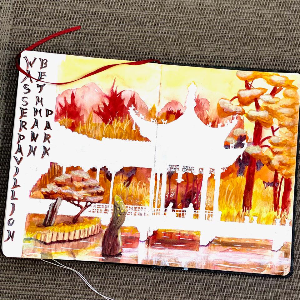 Der chinesische Pavillon im Bethmannpark, Frankfurt, nun im Watercolour Book von Sandra.