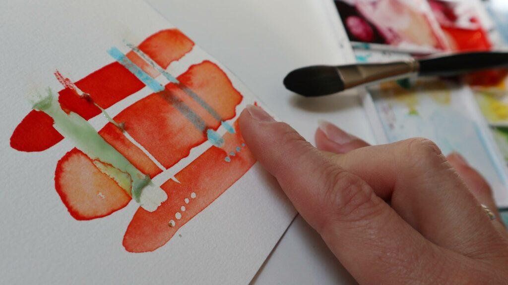 Maskiergummi auch erst nach dem Trocknen vorsichtig und mit sauberen Fingern abrubbeln.
