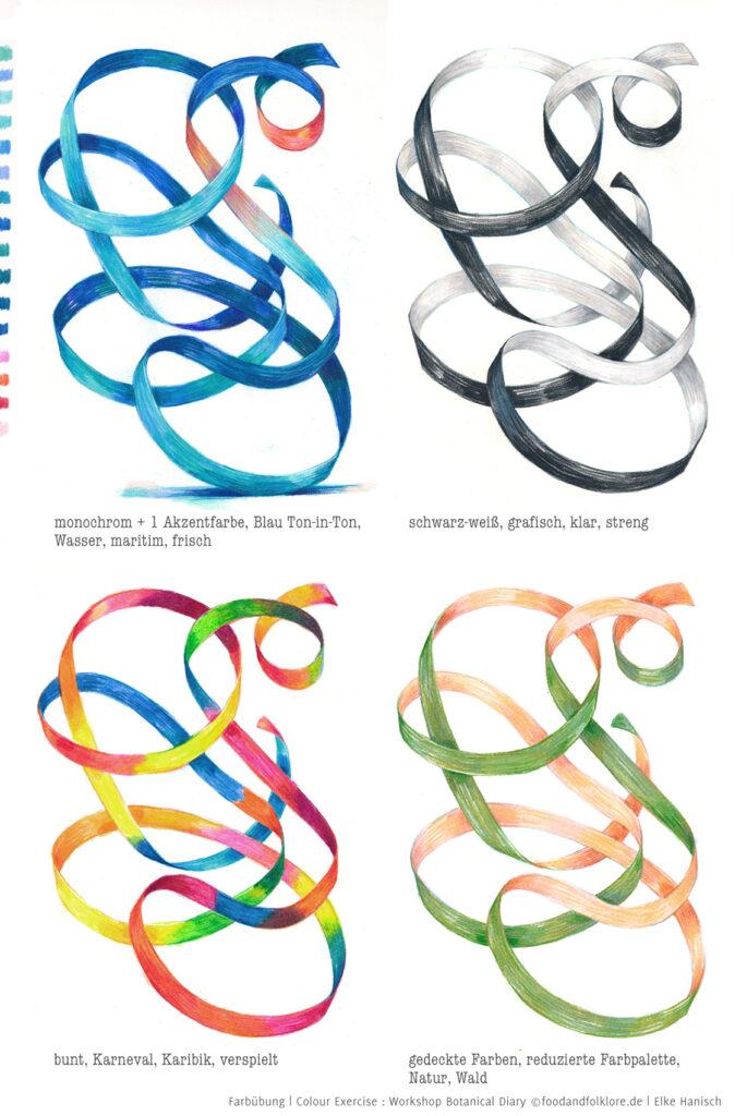 Farbübungen mit Luftschlangen von Elke Hanisch