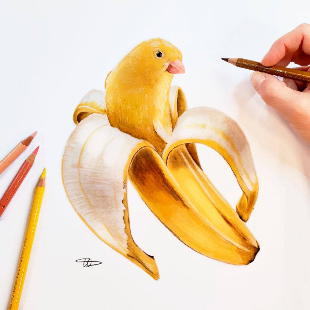 Mit Farbstiften lassen sich sehr natürlich anmutende Bilder erschaffen, wie Ursula mit diesem Kanarienvogel zeigt.